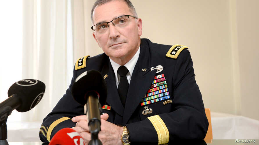 Commander of the U.S. European Command Curtis M. Scaparrotti speaks during his presentation for Finnish National Defense Course Association in Helsinki, Finland, Aug. 9, 2017.