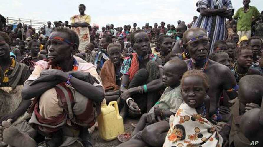 Displaced people who fled the attackers gather in Pibor County,  January 17, 2012.