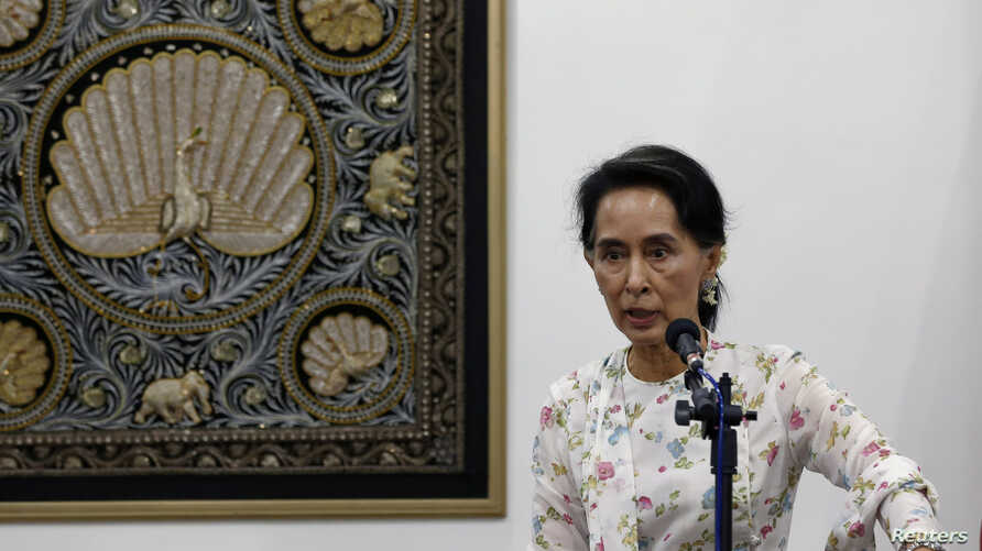 FILE - Myanmar Foreign Minister and de facto leader Aung San Suu Kyi speaks during a news conference in Naypyitaw, Myanmar, May 22, 2016.