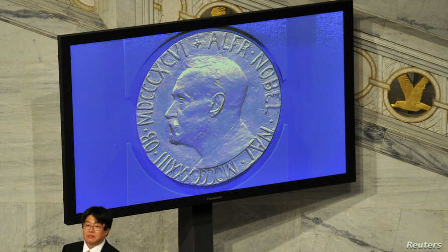 FILE - A guest stands next to a screen showing the Nobel Prize medal during the Nobel Peace Prize ceremony in Oslo, Dec. 10, 2010.