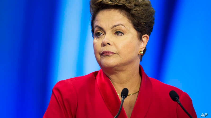 Brazil's President Dilma Rousseff during a televised presidential debate in Sao Paulo, Sept. 28, 2014.