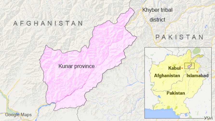 Map of Kunar province, Afghanistan