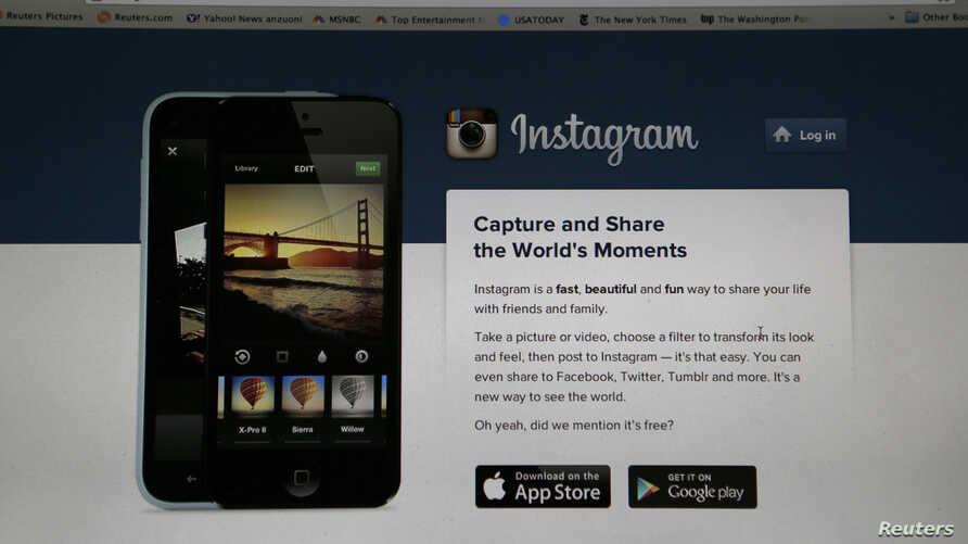 FILE - An Instagram login page is pictured on a laptop screen in Pasadena, California, Aug. 14, 2013.