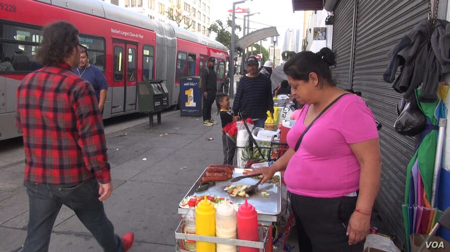 Guadalupe Santiago sells hot dogs from a small cart in Los Angeles, Calif. Once the city sets regulations for vending permits, she plans to upgrade equipment or meet any other requirements. (A. Martinez/VOA)