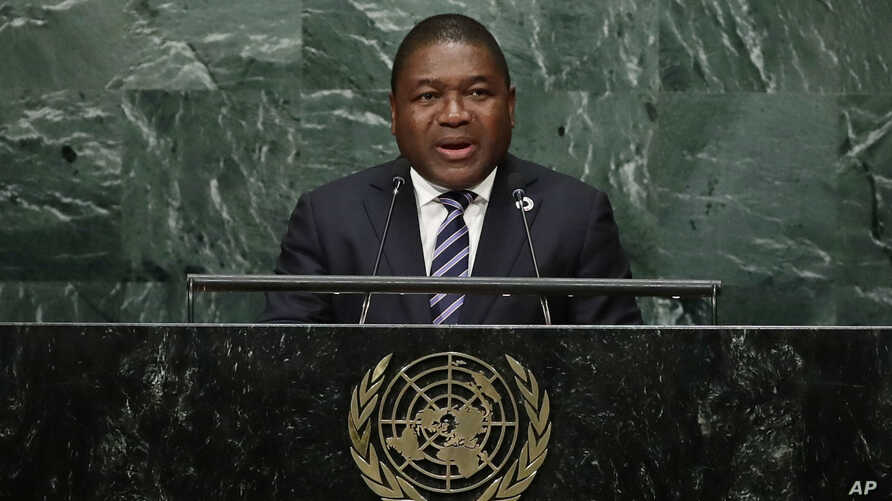 Filipe Jacinto Nyusi, president of Mozambique speaks during the 71st session of the United Nations General Assembly, Wednesday, Sept. 21, 2016, at U.N. headquarters.