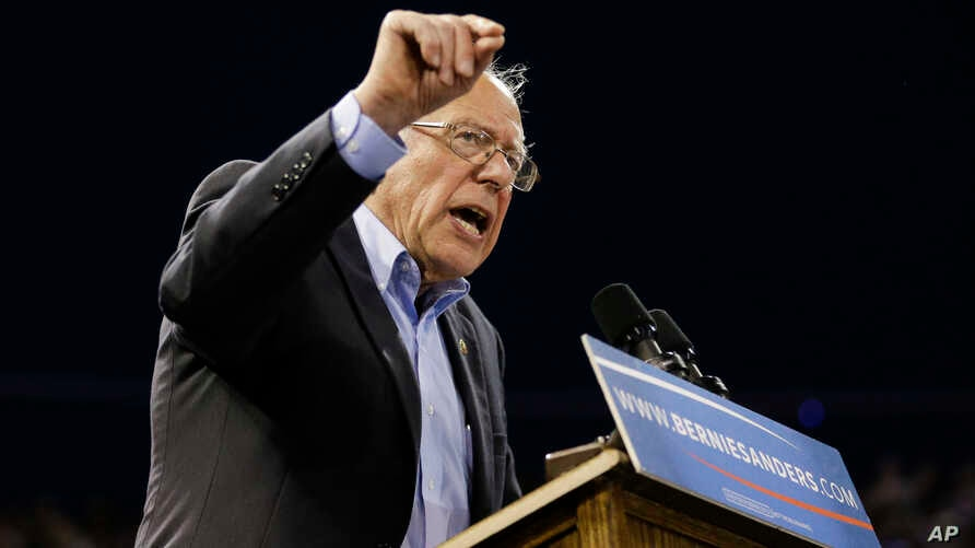Democratic presidential candidate Sen. Bernie Sanders, I-Vt., speaks at a rally on May 17, 2016, in Carson, Calif.