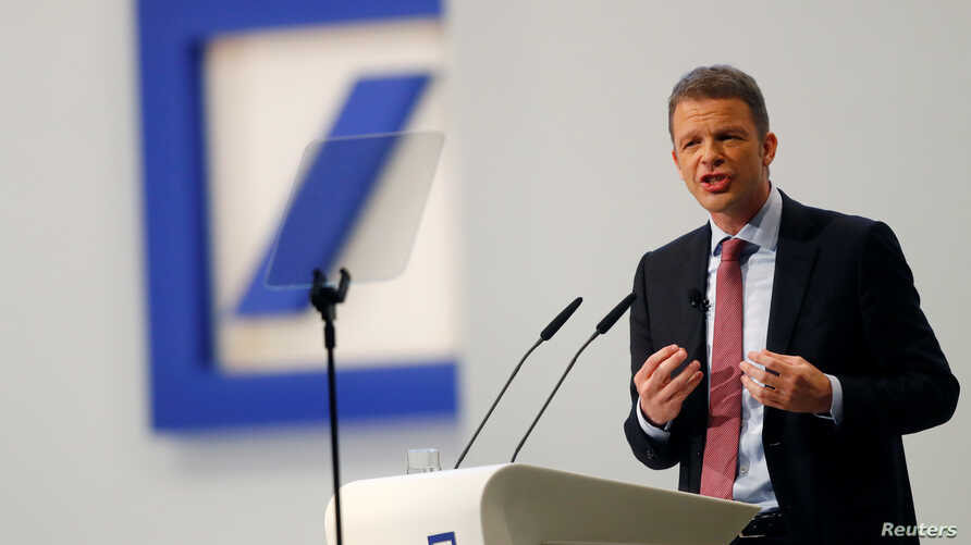 Christian Sewing, new CEO of Germany's Deutsche Bank, addresses the audience during the bank's annual meeting in Frankfurt, Germany, May 24, 2018.