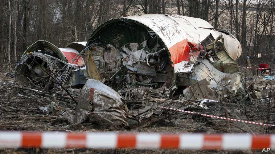 FILE - An April 11, 2010 photo shows the wreckage of the Polish presidential plane which crashed in Smolensk, western Russia. Polish President Lech Kaczynski, his wife and 96 prominent Poles died in the crash.