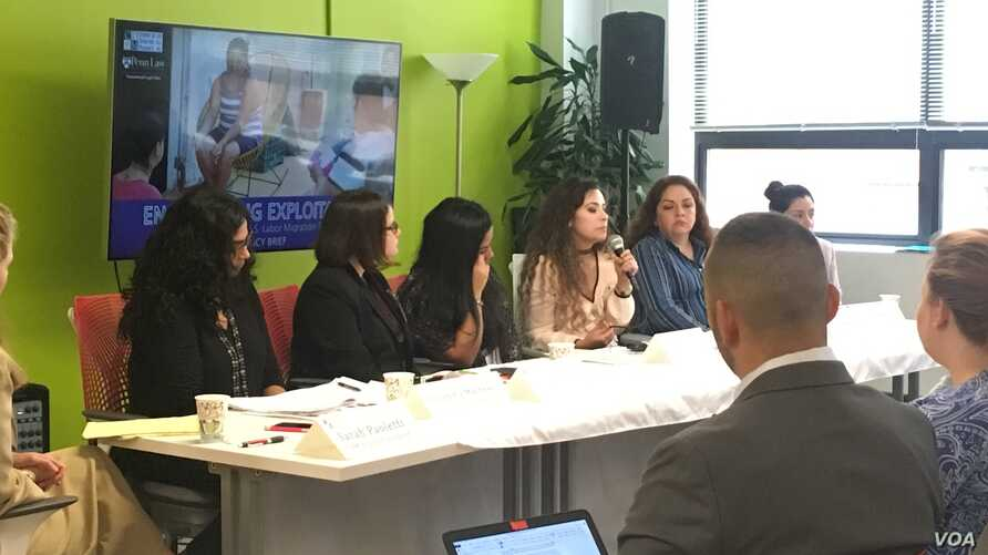 The Center for Migrant Rights hosts a discussion on exploitation of immigrant women workers, Sept.12, 2017, in Washington. The group, made of migrant workers, advocates and policy experts, discussed flaws in U.S. guest worker programs, while sharing