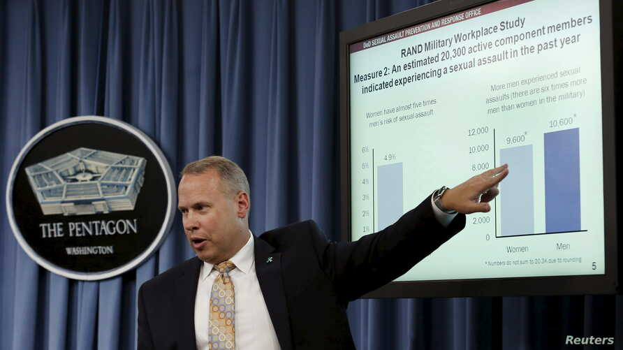 Nathan Galbreath, senior executive advisor for the Department of Defense Sexual Assault Prevention and Response Office, speaks at a news conference at the Pentagon in Washington to release the Annual Report on Sexual Assault in the Military, May 1, 2