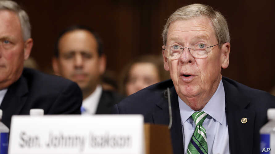 FILE - Sen. Johnny Isakson, R-Ga., pictured at a Senate Judiciary Committee hearing on Capitol Hill in September 2017, is chairman of the Senate Ethics Committee.