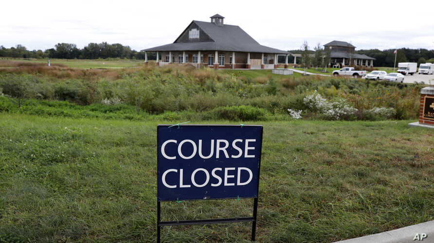 A course closed sign sits in front of the Coldwater Golf Links course, Sept. 18, 2018, in Ames, Iowa, after the body of Iowa State University student Celia Barquin Arozamena, a top amateur golfer from Spain, was found on the course the day before.