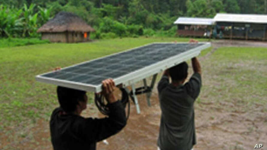 This solar panel will be installed in an LED system in an Ecuadorian village