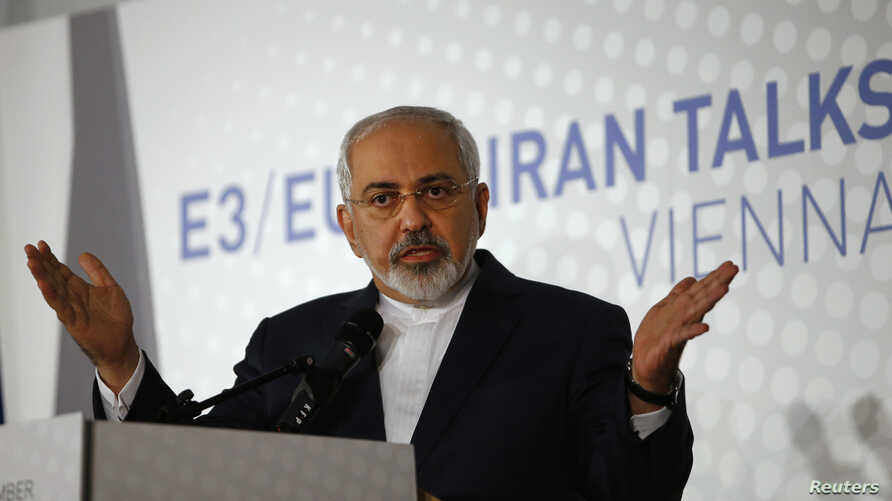 Iranian Foreign Minister Javad Zarif talks to reporters in Vienna after his country and the P5+1 powers failed to resolve their 12-year dispute over Tehran's nuclear ambitions and chose to extend their talks, Nov. 24, 2014.