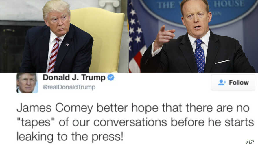 Clockwise, from upper left, President Donald Trump, White House press secretary Sean Spicer, and the president's tweet early Friday to former FBI Director James Comey.
