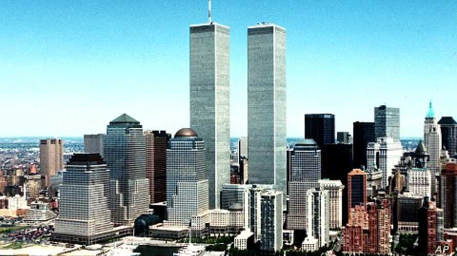 New York City skyline with World Trade Center twin towers in Center. (1990 file photo)
