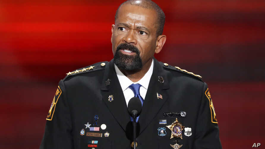 David Clarke, Sheriff of Milwaukee County, Wis., speaks during the opening day of the Republican National Convention in Cleveland, July 18, 2016.