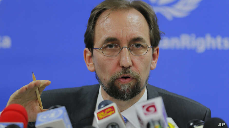 United Nations High Commissioner for Human Rights Zeid Ra'ad al-Hussein addresses the media in Colombo, Sri Lanka, Feb. 9, 2016.
