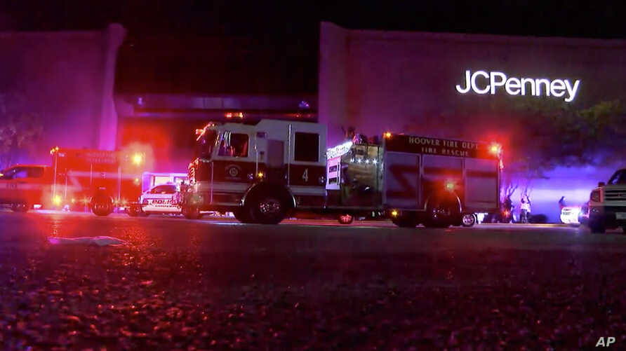 This image made from a video provided by ABC 33/40 shows authorities responding after reports of shots fired at the Riverchase Galleria in Hoover, a Birmingham, Ala., suburb, Nov. 22, 2018. Police shot and killed a man after a fight had erupted at th