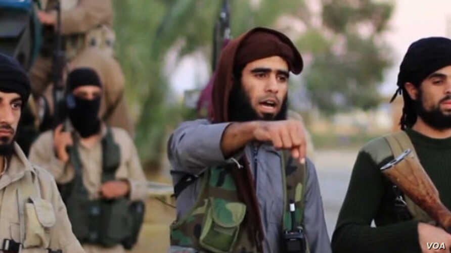 Screen grab of purported Islamic State video threatening terror attack on Washington, D.C. Video authenticity has not yet been independently confirmed, Nov. 16, 2015.