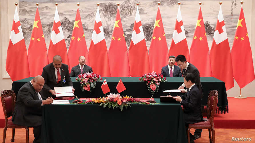 King Tupou VI of Tonga and Chinese President Xi Jinping attend a signing ceremonyat The Great Hall Of The People, in Beijing, China, March 1, 2018.