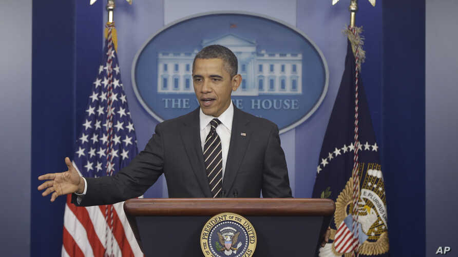 President Barack Obama gestures as speaks in the James Brady Press Briefing Room at the White House in Washington,  February 5, 2013.