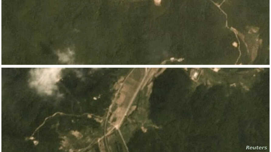 A combination of two satellite images taken on June 22, 2018 (top) and July 22, 2018 show activity at the Sohae rocket launch site in North Korea. (Planet Labs Inc/Handout via Reuters)