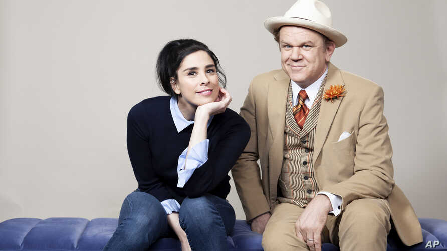 """Sarah Silverman, left, and John C. Reilly pose for a portrait at The Beverly Hilton Hotel in Beverly Hills, California., to promote their film """"""""Ralph Breaks the Internet,"""" Nov. 3, 2018."""