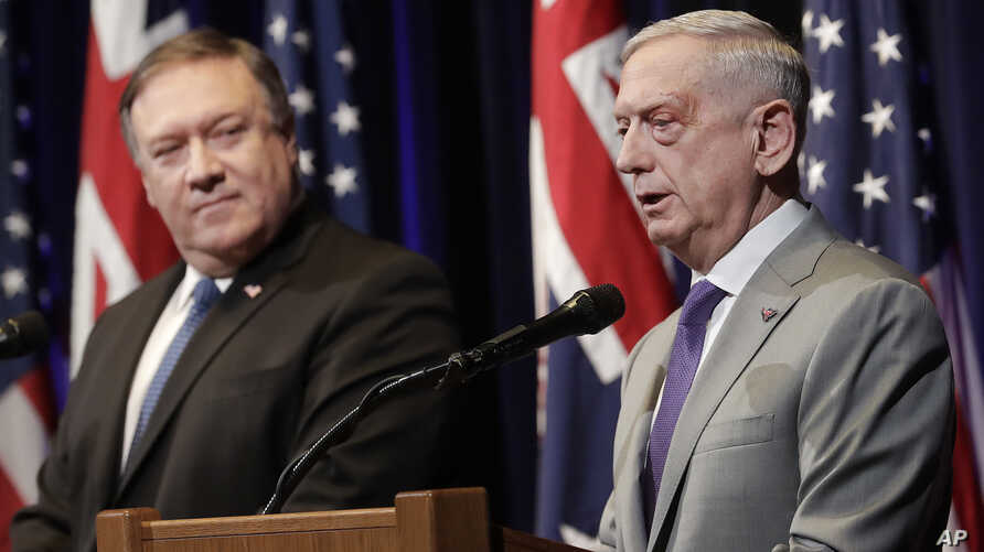 "U.S. Secretary of Defense Jim Mattis, right, speaks next to U.S. Secretary of State Mike Pompeo at the 2018 Australia-U.S. Ministerial Consultations in Stanford, Calif., July 24, 2018. The two secretaries travel to India for ""2 plus 2"" dialogue Thurs"