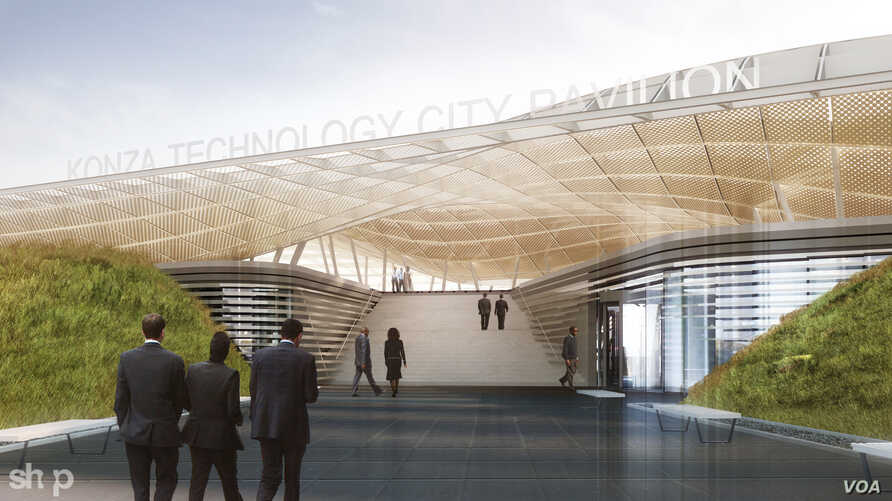 An artist's rendering shows a concept for the Pavilion area of the Konza Technopolis, Kenya.