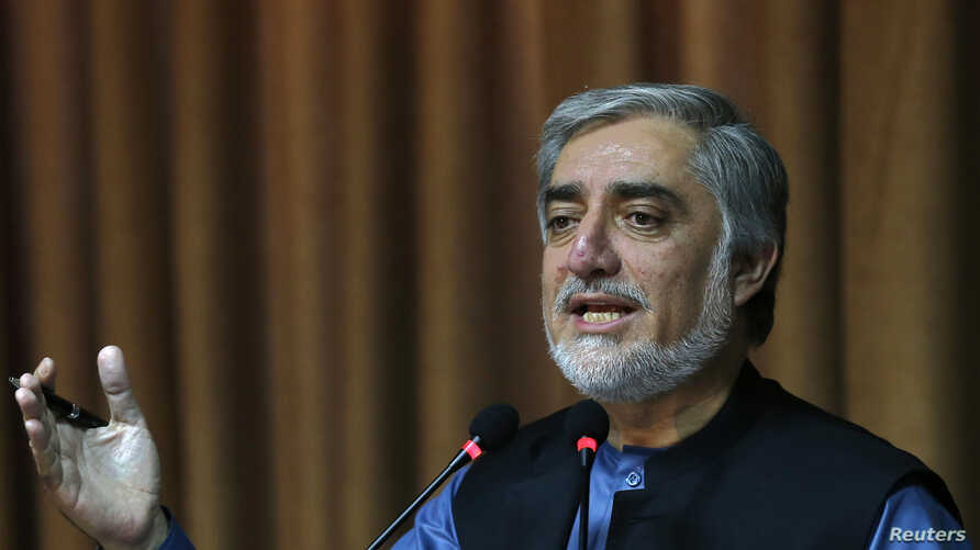 Afghan presidential candidate Abdullah Abdullah speaks during  a news conference in Kabul, Sept. 8, 2014.