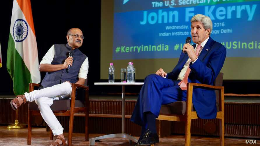 U.S. Secretary of State John Kerry answers questions from students, administrators, and civic leaders following a speech about U.S.-India relations and foreign affairs during a visit to Indian Institute of Technology Delhi in New Dehli, India, on Aug