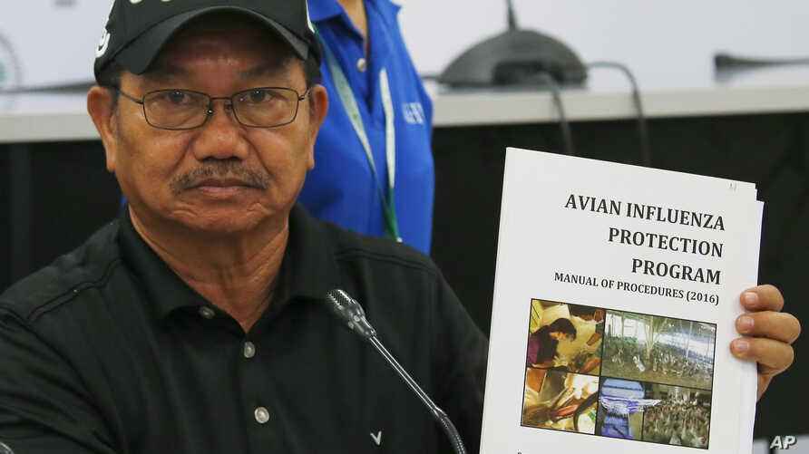 Department of Agriculture Secretary Emmanuel Pinol holds a manual for Avian Influenza Protection during a news conference, Aug. 11, 2017 in Manila, Philippines. Pinol said the Philippines will cull 600,000 birds after confirming its first bird flu o