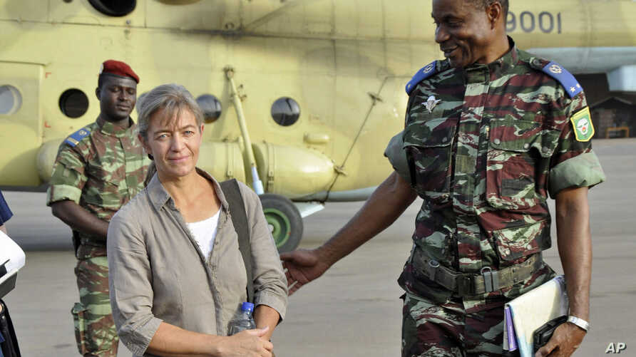 FILE- Released Swiss hostage Beatrice Stockly arrives by helicopter from Timbuktu, April 24, 2012.