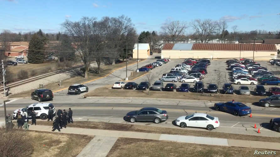 The site of a fatal shooting at Central Michigan University is shown, in Mount Pleasant, March 2, 2018.