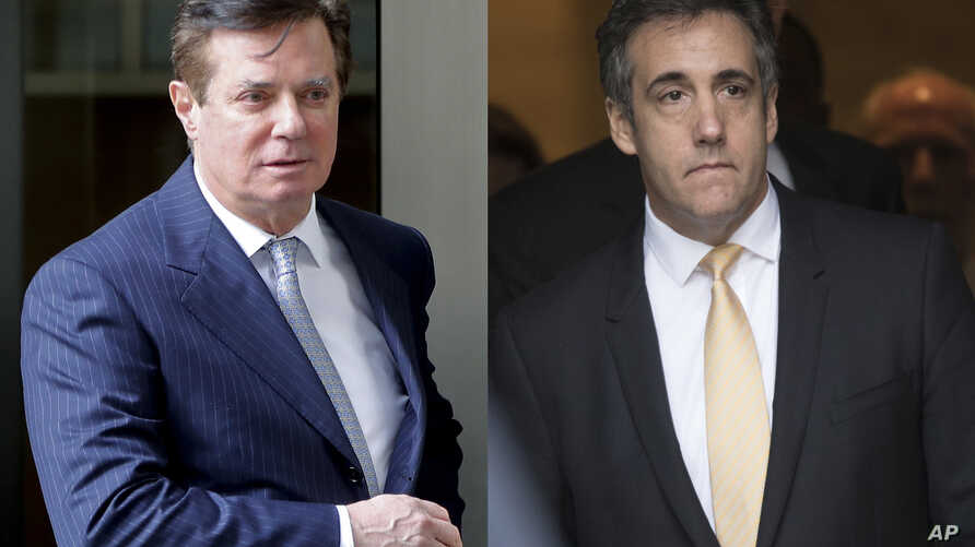 In these 2018 photos, Paul Manafort leaves federal court in Washington, left and attorney Michael Cohen leaves federal court in New York.