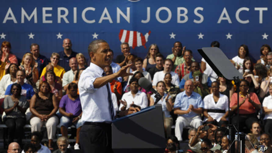 President Obama stumps for the American Jobs Act in Columbus, Ohio, Sept. 2011 (file photo).