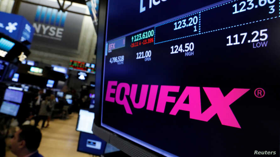 The Equifax logo and trading information are displayed on the floor of the New York Stock Exchange in New York, Sept. 8, 2017.