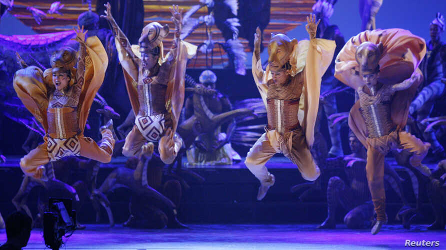 """Dancers from """"The Lion King"""" perform during the opening number at the 62nd Annual Tony Awards in New York, June 15, 2008."""