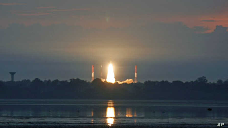 India's Polar Satellite Launch Vehicle C-19 blasts off, carrying the country's first radar imaging satellite RISAT-1 from the Satish Dhawan space centre at Sriharikota, India, April 26, 2012.