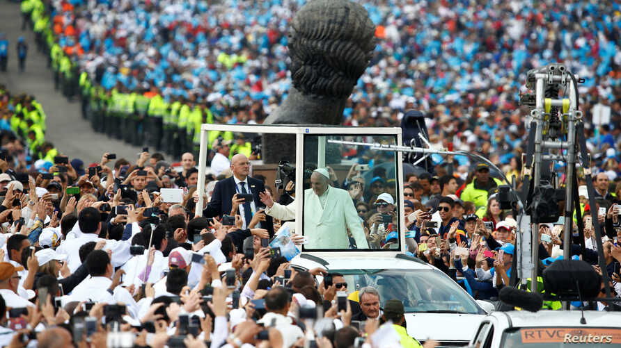 Pope Francis arrives for a holy mass at Simon Bolivar park in Bogota, Colombia, Sept. 7, 2017.