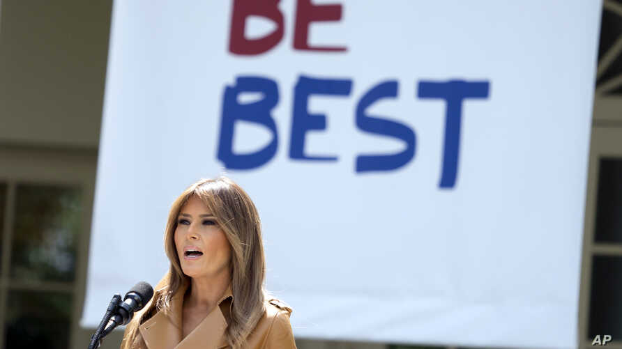 First lady Melania Trump speaks on her initiatives during an event in the Rose Garden of the White House, May 7, 2018, in Washington.  T