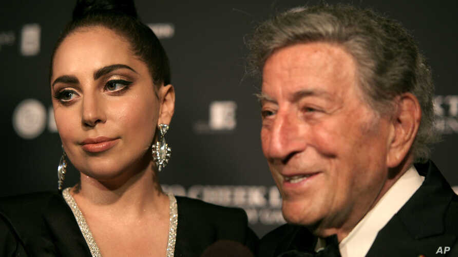 Recording artists Lady Gaga, left, and Tony Bennett, attend a Tony Bennett and Lady Gaga concert taping in New York, July 28, 2014.
