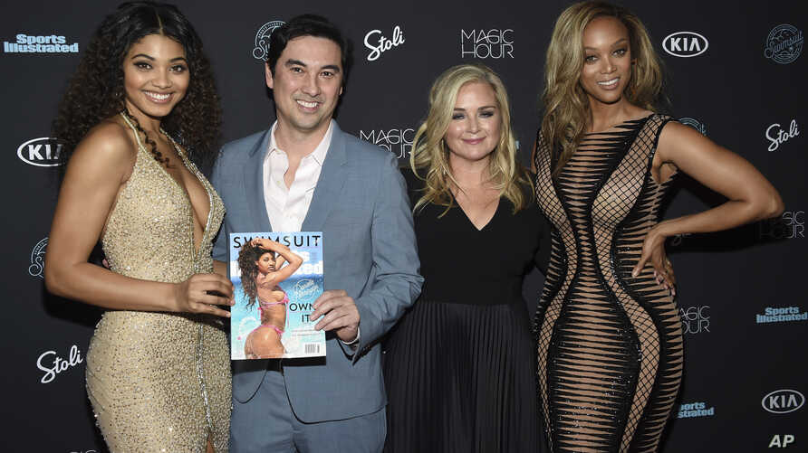 Danielle Herrington, from left, Chris Stone, editor in chief, Sports Illustrated, editor MJ Day and Tyra Banks attend the Sports Illustrated Swimsuit Issue launch party at Magic Hour at Moxy NYC Times Square on Feb. 14, 2018, in New York.