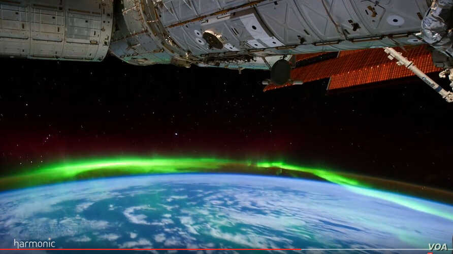 Screenshot of NASA's Ultra HD video of the Aurora Borealis phenomena as seen from the International Space Station.
