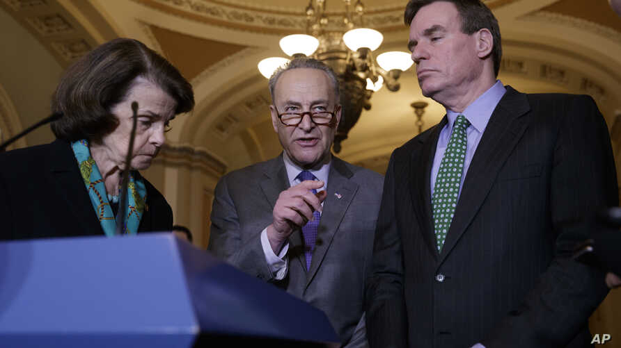 Senate Judiciary Committee, and Sen. Mark Warner, D-Va., vice chair of the Intelligence Committee, calls for an investigation into President Donald Trump's administration over its relationship with Russia, during a news conference on Capitol Hill in