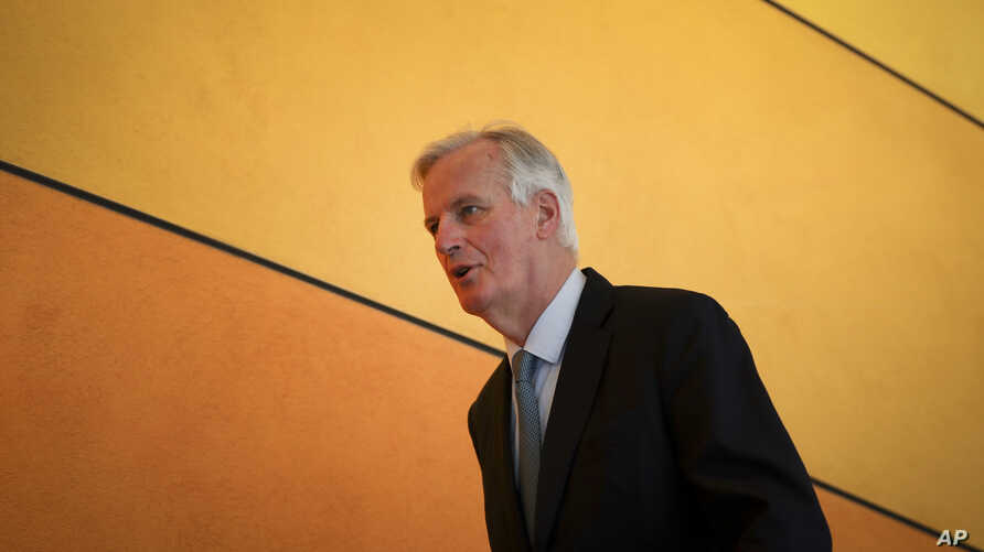 European Union chief Brexit negotiator Michel Barnier arrives for a session at European Parliament in Brussels, April 2, 2019.