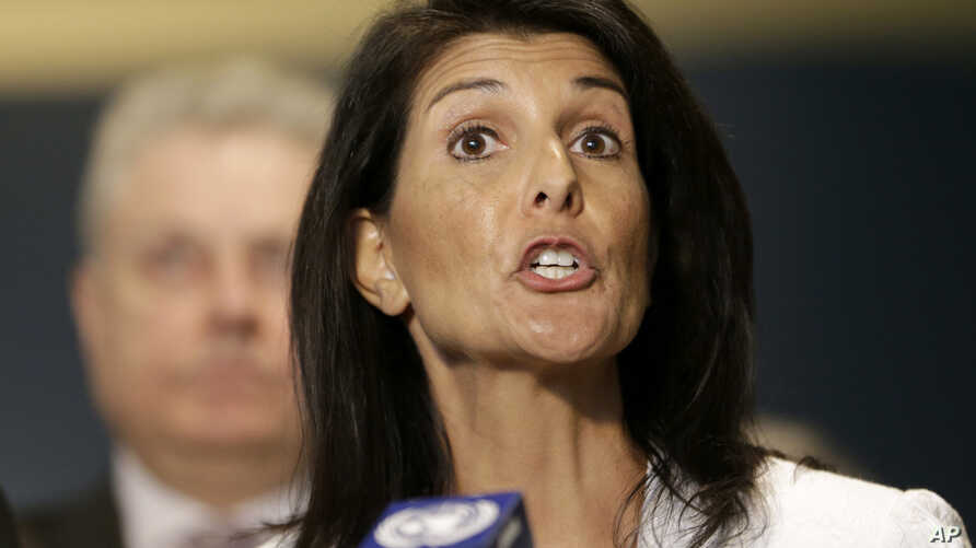 FILE - United States Ambassador to the United Nations Nikki Haley speaks to reporters outside the General Assembly at U.N. headquarters.