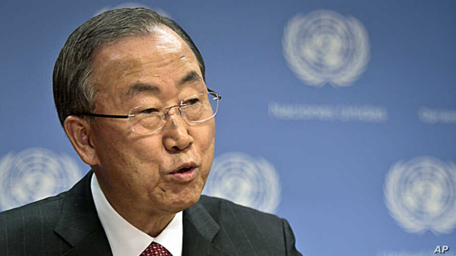 U.N. Secretary General Ban Ki-moon holds a news conference on Syria at the United Nations headquarters on Tuesday, Sept. 3, 2013.