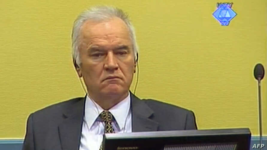 A screen grab released by the International Criminal Tribunal for the former Yugoslavia (ICTY) shows former Bosnian Serb army chief Ratko Mladic sitting in the courtroom in The Hague, May 16, 2012